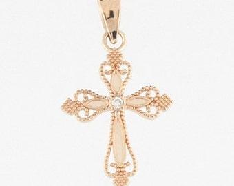 14k gold diamond mini cross. Cross, gold cross, diamond cross. dainty cross.