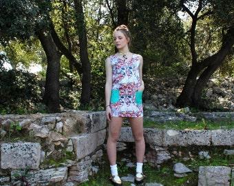 Vilös Mode Design Shift V neck pocket leather floral dress -V-Ausschnitt Kleid mit Taschen