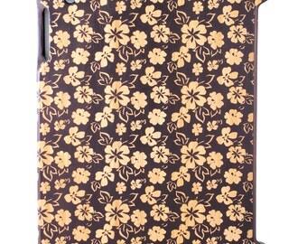 Charred Bamboo iPad 2,3,4 case, Hawaiian Flowers design UK