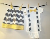 Gray Chevron and Yellow Dots Brother Sister Matching Set. Girls Chevron Dress, Boys Suspenders and Bow Tie Bodysuit, Family Pictures Outfit