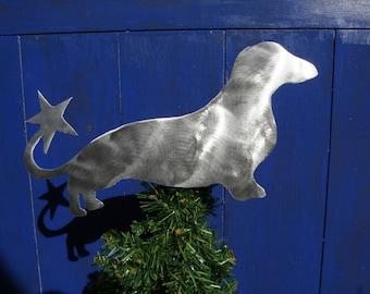Dachshund, Weiner Dog, Dog Christmas Tree Topper, Holiday Decoration, Aluminum