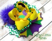 Marti Gras Stacked Bow/purple/green/yellow/beads/felt hat