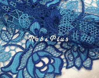 Venise Lace - Blue lace fabric- Premium Guipure Lace - Floral Embroidered Blue Lace - Floral Embroidered Blue Lace - L54