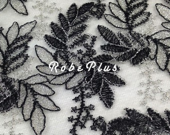 Black Lace Fabric - Chemical Lace Fabric - Embroider Black Lace Fabric -Premium Black Lace Fabric-L55