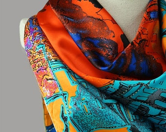 Contrast Color Silk Scarf - Silk Satin Scarf - Square Scarf - Large Silk Scarf - Oil Paint Head Scarf - Orange Silk Scarf - 20148E