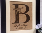 Initial starfish monogram est. Date personalized for wedding date anniversary  sign on real burlap