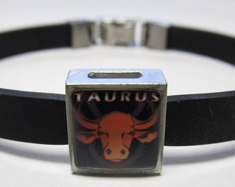The Bull Taurus Zodiac Sign Link With Choice Of Colored Band Charm Bracelet