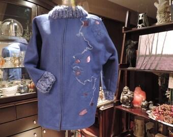 Vintage Jacket Wool Coat Handmade Vintage Coat Felting