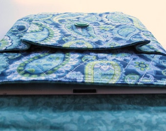 Padded IPAD sleeve,  Quilted Tablet sleeve, Padded Case for Tablet, Navy, Green and Teal paisley, holds charger and phone too