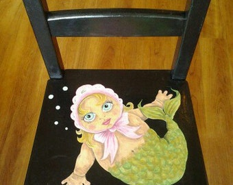 Childrens hand painted mermaid chair