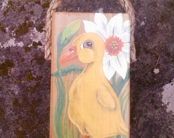 Duckling and daffodils painting on reclaimed wood