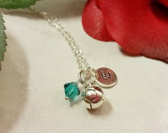 Sterling Silver Soccer Ball Charm Necklace, Personalized with your Initial and Swarovski Birthstone Element