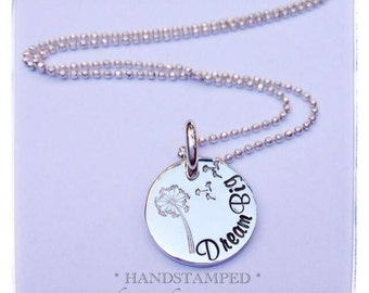 Dandelion necklace, personalised, any wording, make a wish, sterling silver hand stamped, dream, keepsake jewellery, gift for girl