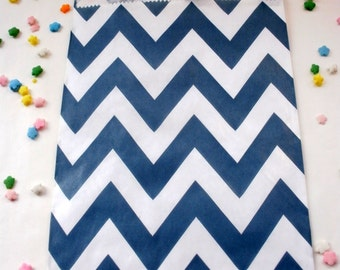 20 Navy Blue Chevron Party Favor Bags Treat Candy Baking Gifts Cookies