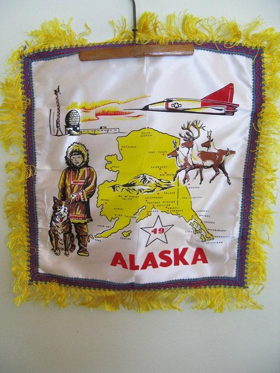 Vintage Souvenir Travel Fringed Pillow Cover Depicting Alaska