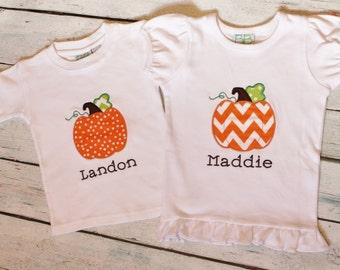 Sibling Pumpkin Patch Shirts
