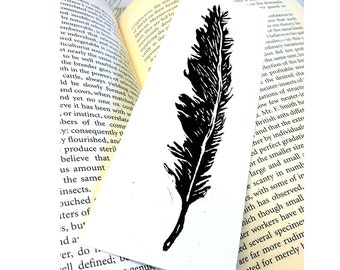 Feather Linocut Bookmark