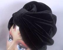 Velvet, black, fashion turban, hat, dressy, full turban, vintage style, designer, sizes Sm, Med, L, XL. Free shipping in USA.