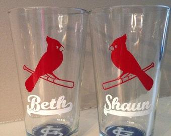St. Louis Cardinal Lovebirds pint glasses