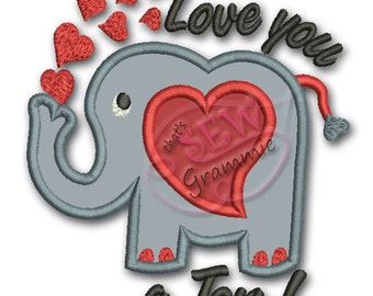 Love You a Ton Elephant great for Valentine's Day