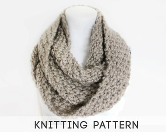 Chunky Circle Scarf Knitting Pattern : PDF Knitting Pattern Infinity Scarf - Mega Chunky Knit Infinity Scarf, Knit C...