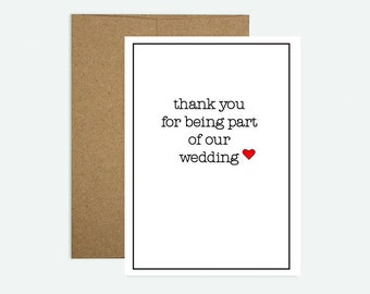 Thank you for being part of our wedding - Greeting Card