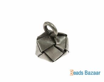 Karen Hill Tribe silver Weaving Cube Charm, 12.5mm