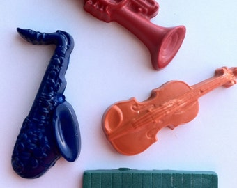 Musical crayon - Birthday  - Party favor - saxophone - keyboard - trumpet - harp - set 24 musical instrument crayons