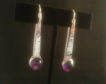 Round Purple Amethyst Silver Earrings Handmade with Lavender gemstone  on a hammered  Fine Silver,  Dangle Earrings.February birthstone