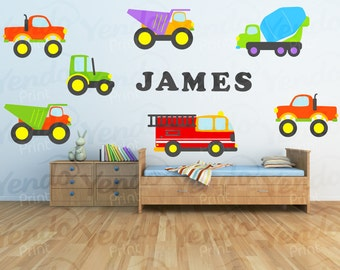 Construction Truck Decal - Boy Personalized Fabric Wall Art - Children  Wall Decals