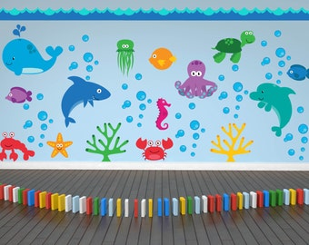 Ocean Theme Decal - Sea Creatures Wall Decals - Fish Decals