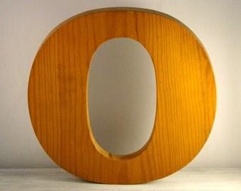 "Vintage wood letter from 1980s. letter ""o"""