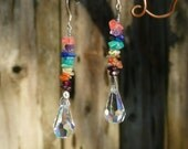 Rainbow Chakra Crystal Earrings made with Natural Gem Stones and Steel Wire