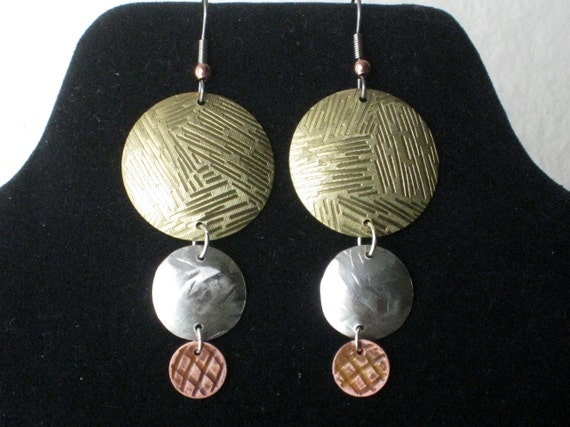 Three Colors Chandelier Earrings - Mix metals Handmade Sterling Silver, Brass and Copper - One of a kind