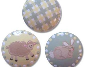 Hand Painted Little lambs and Bunnies Drawer Knobs Nursery Cabinet Pulls