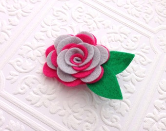 I Felt For You Hot Pink and Gray Swirl Headband or Hair Clip