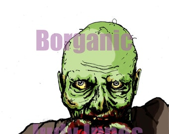 Zombie Eats Brains! Zombie Horror Illustration Zombie Invasions Basic Game Artwork Survival Twisted Geek Goth Undead Apocalypse A4 Print