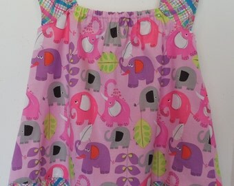 Last One! Size 3T Toddler Girls Handmade Flutter Sleeve Neon Baby Elephant  Ruffle Peasant Dress Boutique Birthday Party Dress
