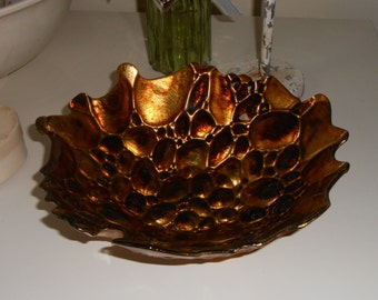 decorative ornamental bowl ornate design high glazed gold lacquer unusual organic retro design