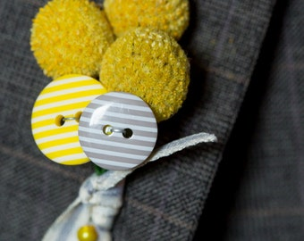 Craspedia and button boutonniere buttonhole
