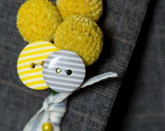 Craspedia and button boutonniere buttonhole
