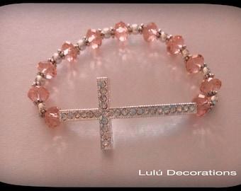 Charm Cross Bracelet with Pink glass Beads