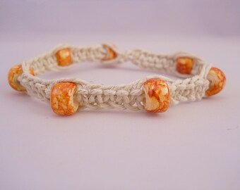 Natural Hemp Bracelet w/ Orange Glass Beads