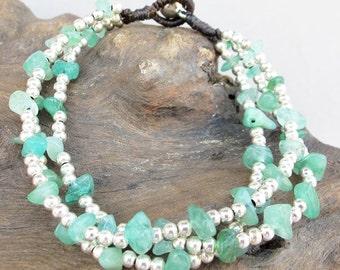 Summer Bracelet -  Multi Strand Aventurine Chip Stone Silver Color Bead Bracelet