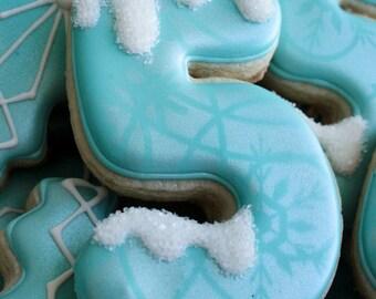One dozen (12) FROZEN THEMED NUMBER Sugar Cookies