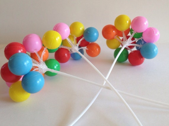 3 clusters colorful plastic balloon picks cupcake or for Balloon cluster decoration