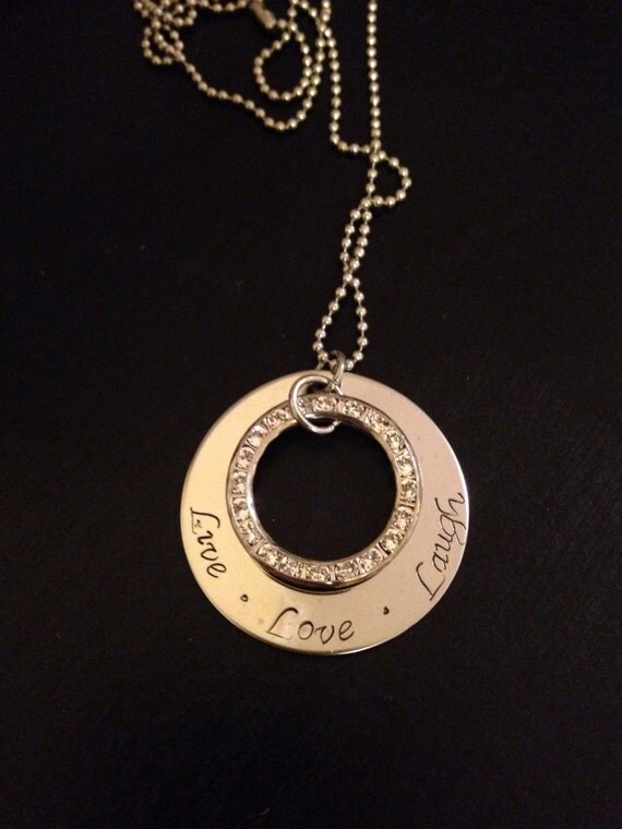 Personalize Stainless Steel Necklace with Swarovski Circle Charm