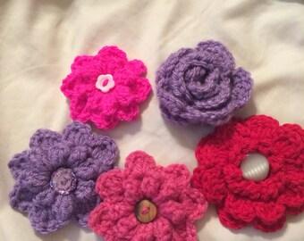 Crochet rose hair clip/crochet flower