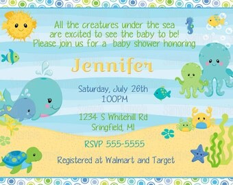Printable Under the sea baby shower Invitation plus FREE blank matching printable thank you card