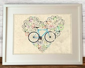 I Love My Bike heart shapes bicycle Poster Wall Art Hanging Print Home Décor